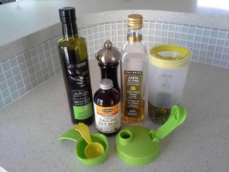 Ingredients for Basil Vinaigrette Dressing