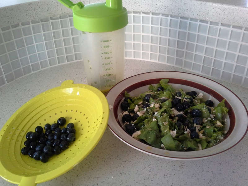 Salad with Basil Vinaigrette Dressing and Blueberries.