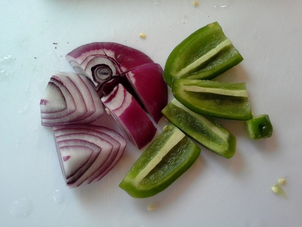 Coarsely chop onion and jalapeno