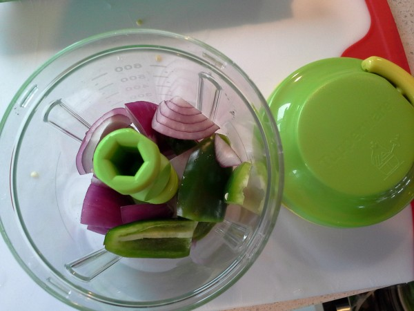 Onion and jalapeno pepper in Chop 'N Prep Chef