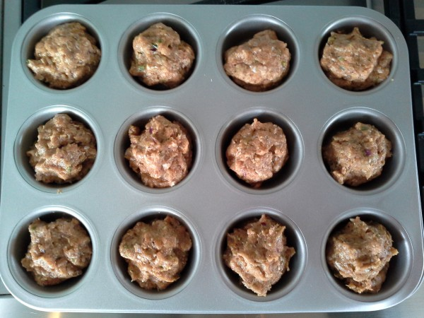 Turkey muffins ready to go into the oven