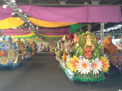 Mardi Gra floats in storage
